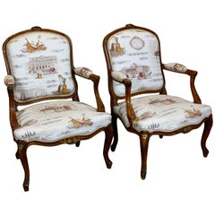 Pair of French Louis XV Style Fauteuils with Mozart and Music Themed Toile