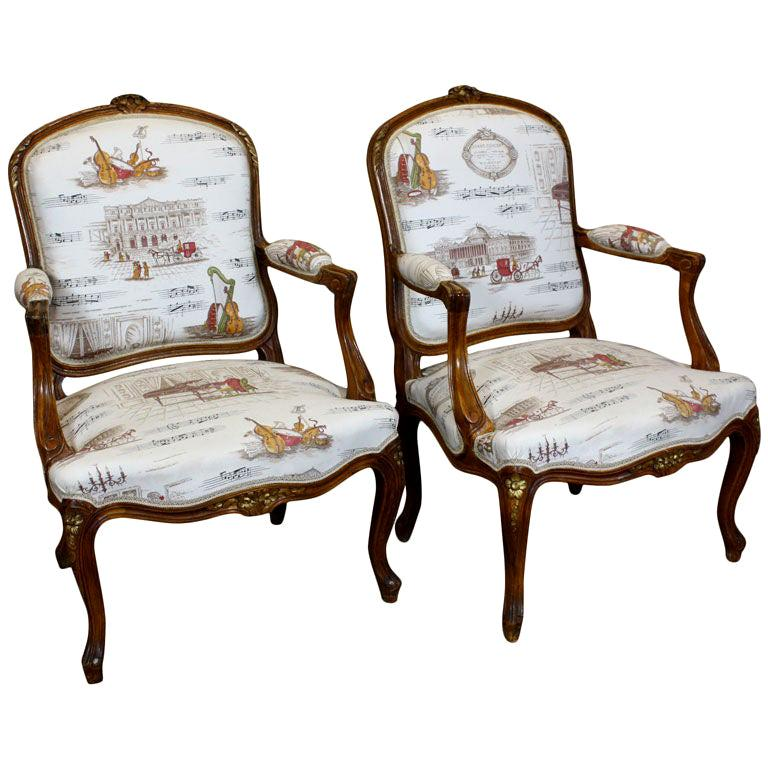 Pair of French Louis XV Style Fauteuils with Mozart and Music Themed Toile For Sale