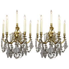 Pair of French Louis XV Style Gilt-Bronze and Cut-Glass Wall Lights