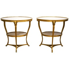 French Louis XV Style Gilt Bronze Marble-Top Guéridon Tables, 19th Century, Pair