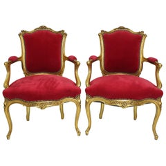 Pair of French Louis XV style Giltwood Carved Rococo Fauteuils, Armchairs