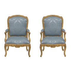 Pair of French Louis XV Style Giltwood Fauteuils À La Reine