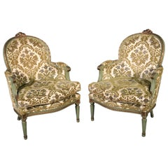 Pair of French Louis XV Style Green Painted Bergere Chairs, Circa 1950s