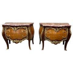 Pair of French Louis XV Style Kingwood and Mahogany Commodes