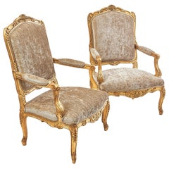 Pair of French Louis XV Style Large 'a chassis' Giltwood Armchairs, c.1880