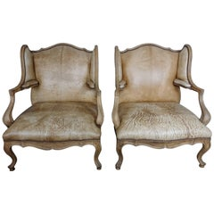 Pair of French Louis XV Style Leather Armchairs
