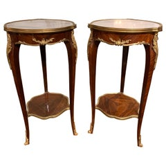 Pair of French Louis XV Style Mahogany and Bronze Side Tables