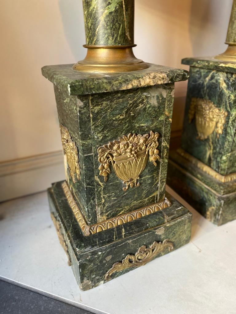 Pair of French Louis XV Style Marble Pedestals/Stands For Sale 3