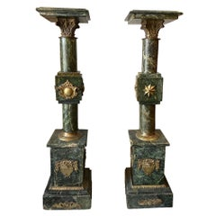 Pair of French Louis XV Style Marble Pedestals/Stands