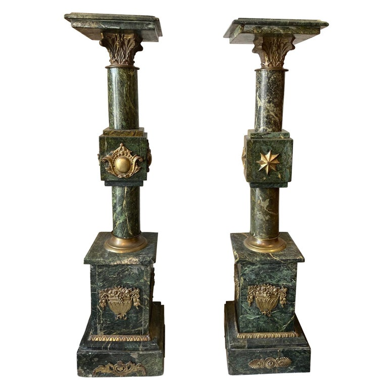 Pair of French Louis XV Style Marble Pedestals/Stands For Sale
