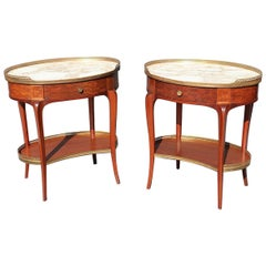 Pair of French Louis XV Style Marble-Top End Tables