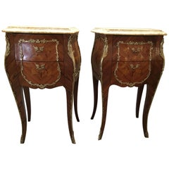 Pair of French Louis XV Style Marble Top Nightstands with Marquetry and Bronze