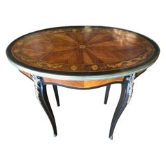 Pair French Louis XV Style Occasional Tables, 19th Century with Marquetry Inlay
