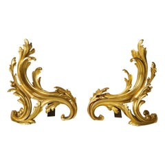 Pair of French Louis XV Style Ormolu Chenets