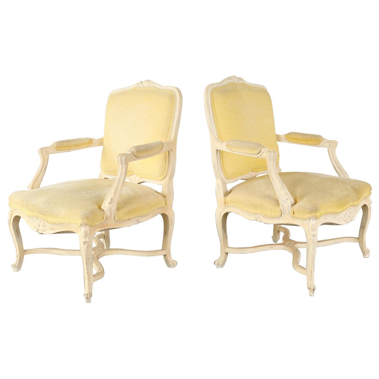 Pair of French Louis XV Style Painted Fauteuil Armchairs