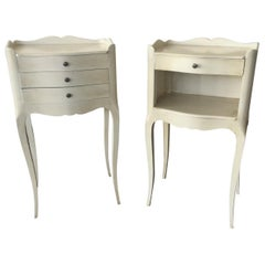 Pair of French Louis XV-Style Painted Side Tables