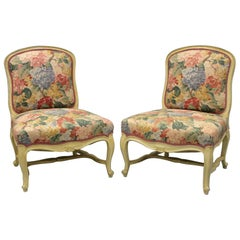 Pair of French Louis XV Style Painted Slipper Lounge Chairs Boudoir Living Room