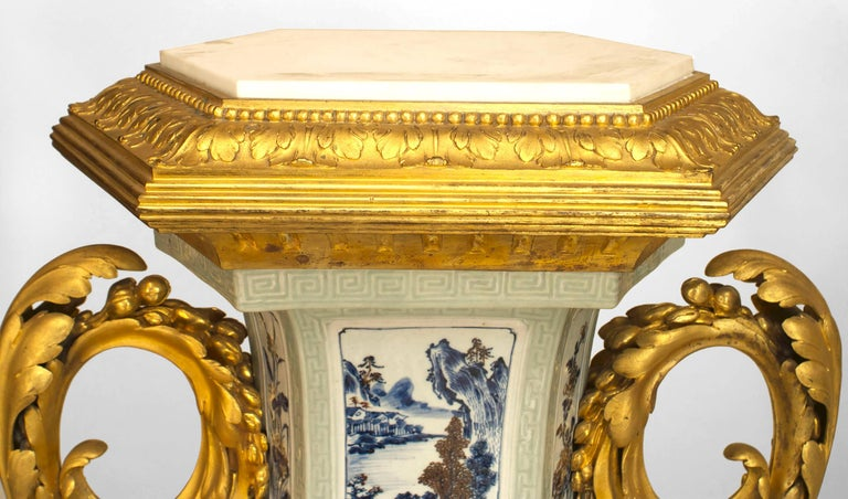 Pair of French Louis XV Style Pedestals, 19th Century In Good Condition For Sale In New York, NY