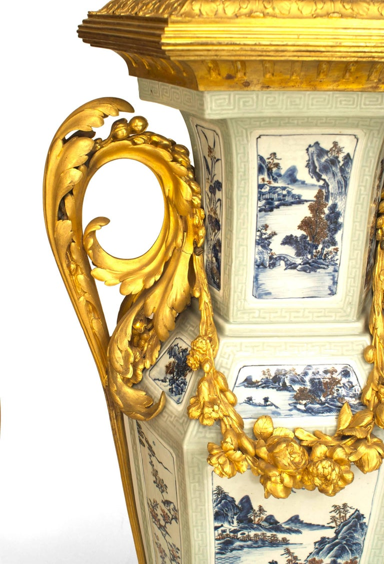 Bronze Pair of French Louis XV Style Pedestals, 19th Century For Sale