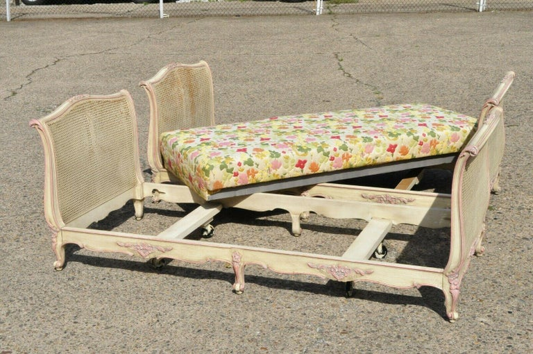 Pair of French Louis XV Style Pink & Cream Painted Bed Carved Wood & Cane Daybed For Sale 6
