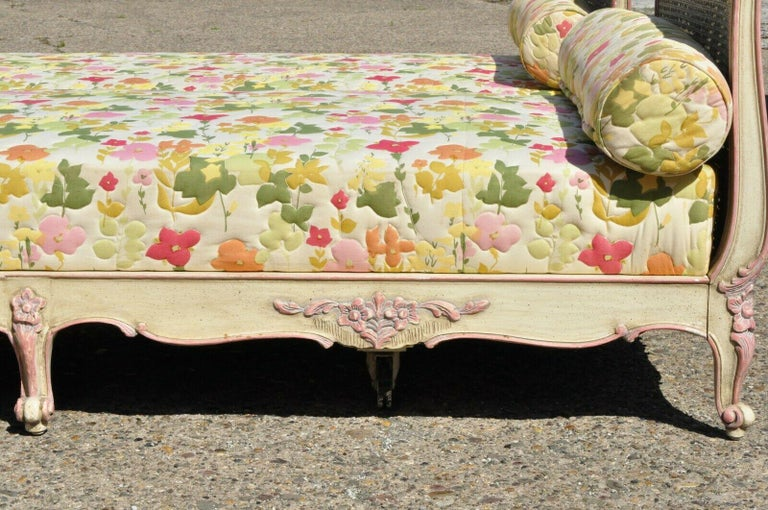Pair of French Louis XV Style Pink & Cream Painted Bed Carved Wood & Cane Daybed For Sale 7