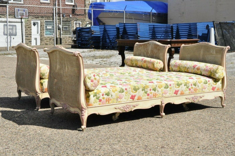 Pair of French Louis XV Style Pink & Cream Painted Bed Carved Wood & Cane Daybed For Sale 8