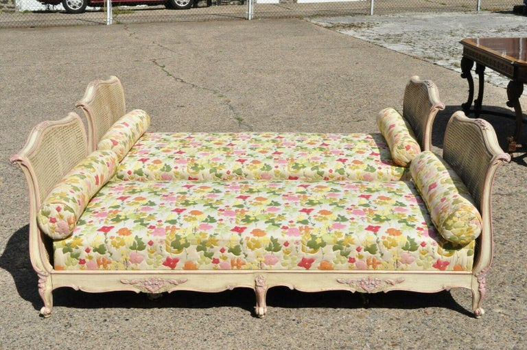Pair of French Louis XV Style Pink & Cream Painted Bed Carved Wood & Cane Daybed In Good Condition For Sale In Philadelphia, PA