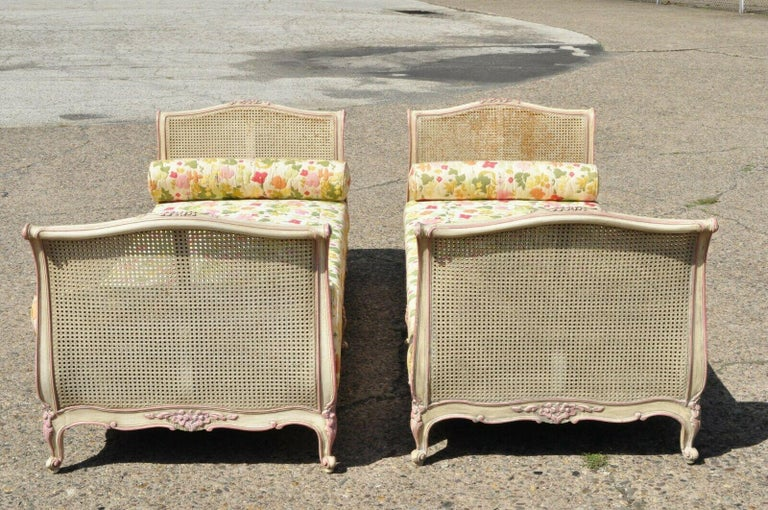 20th Century Pair of French Louis XV Style Pink & Cream Painted Bed Carved Wood & Cane Daybed For Sale
