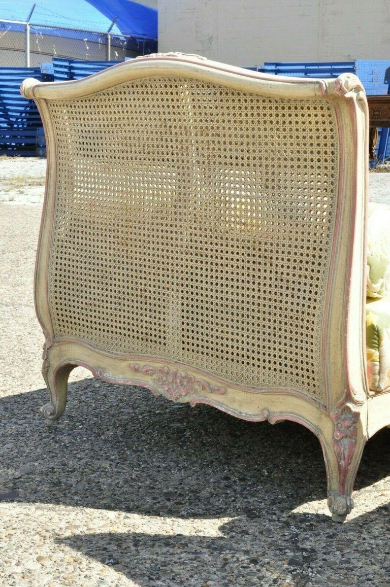 Pair of French Louis XV Style Pink & Cream Painted Bed Carved Wood & Cane Daybed For Sale 1
