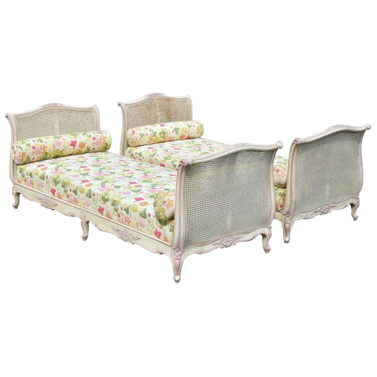 Pair of French Louis XV Style Pink & Cream Painted Bed Carved Wood & Cane Daybed For Sale