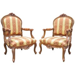 Pair of French Louis XV Style Repro Pink and Gold Bergere Lounge Armchairs