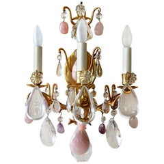 Pair of French Louis XV Style Rock Crystal and Brass Wall Light Sconces