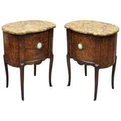 Pair of French Louis XV Style Rogue Marble-Top Burl Wood Bombe Nightstands