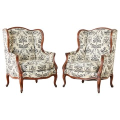 Pair of French Louis XV Style Toile Wingback Chairs