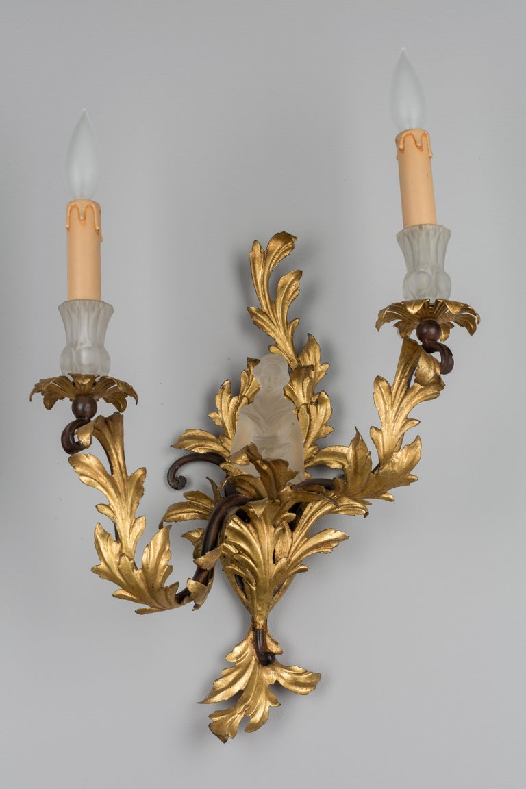 Gilt Pair of French Louis XV Style Tole Sconces For Sale
