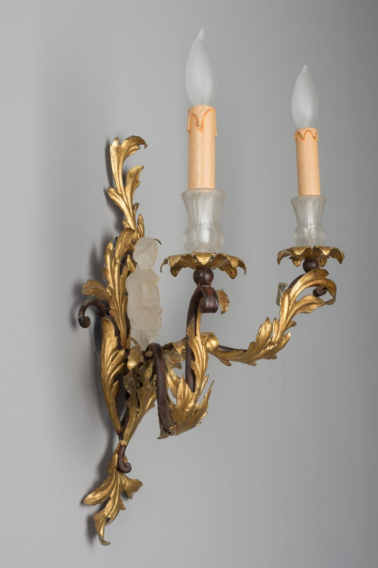 Pair of French Louis XV Style Tole Sconces In Excellent Condition For Sale In Winter Park, FL