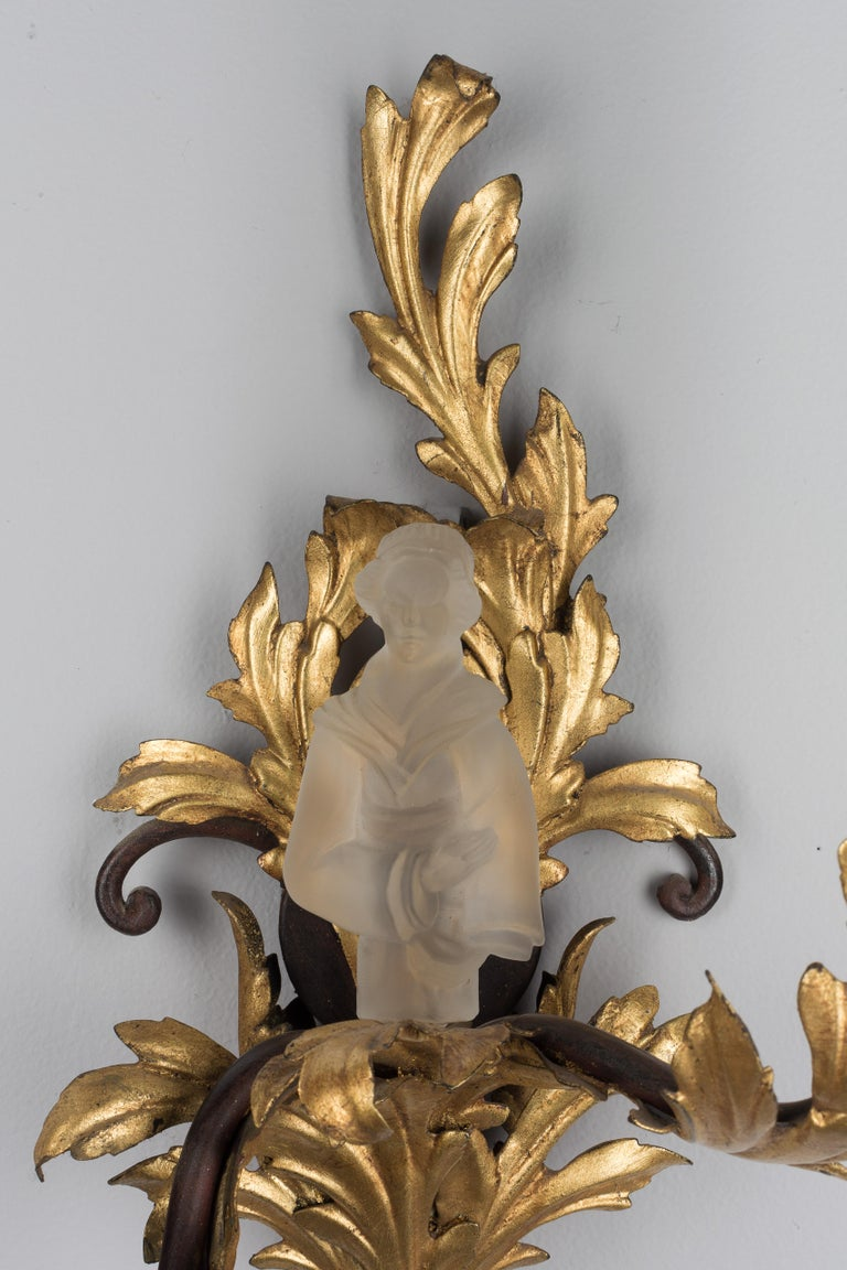 20th Century Pair of French Louis XV Style Tole Sconces For Sale