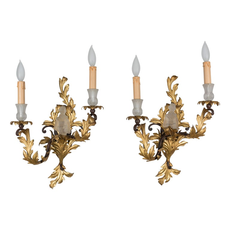 Pair of French Louis XV Style Tole Sconces For Sale
