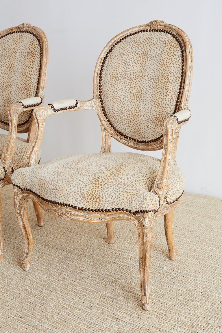 20th Century Pair of French Louis XV Style Upholstered Fauteuils