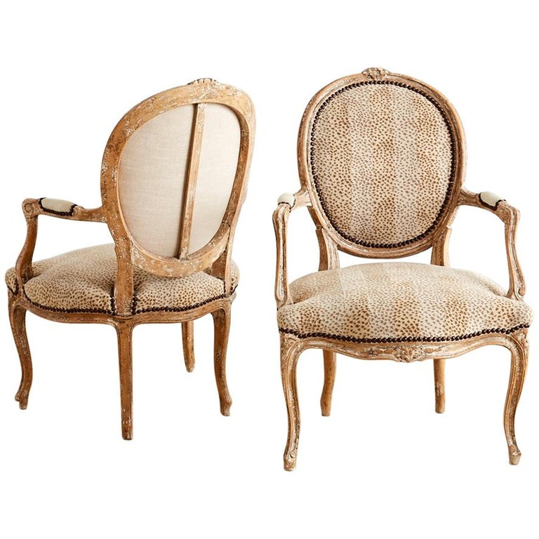 Pair of French Louis XV Style Upholstered Fauteuils