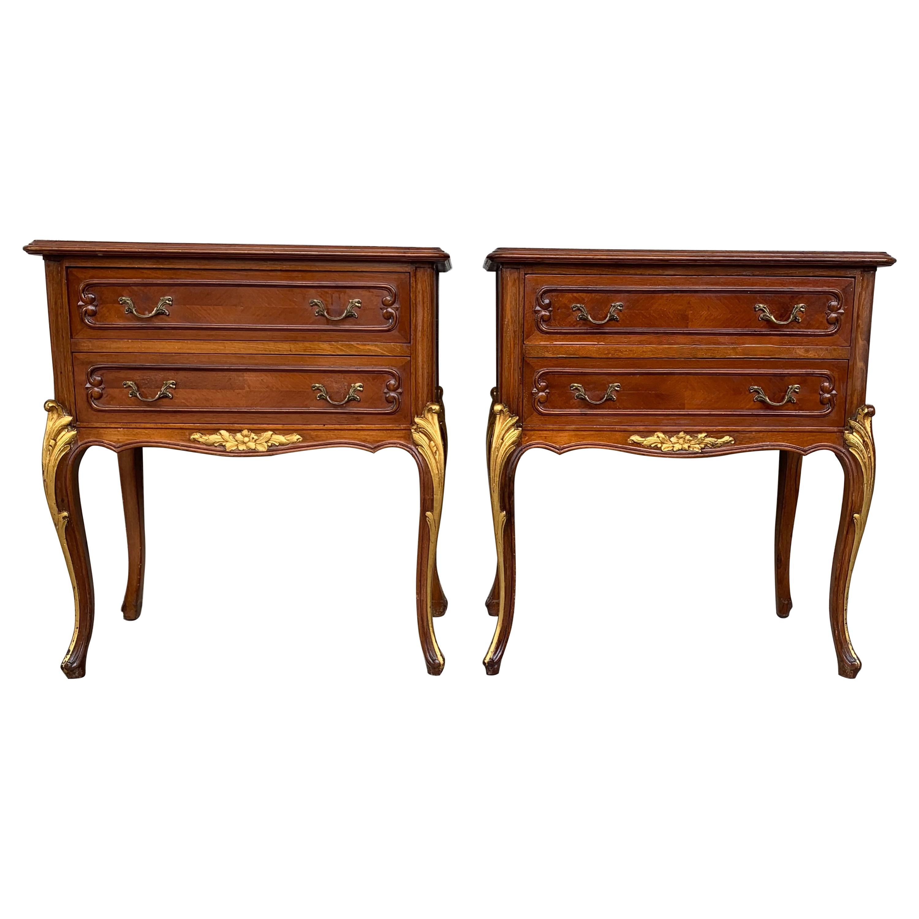 Pair of French Louis XV Style Walnut Bedside Tables with Drawers