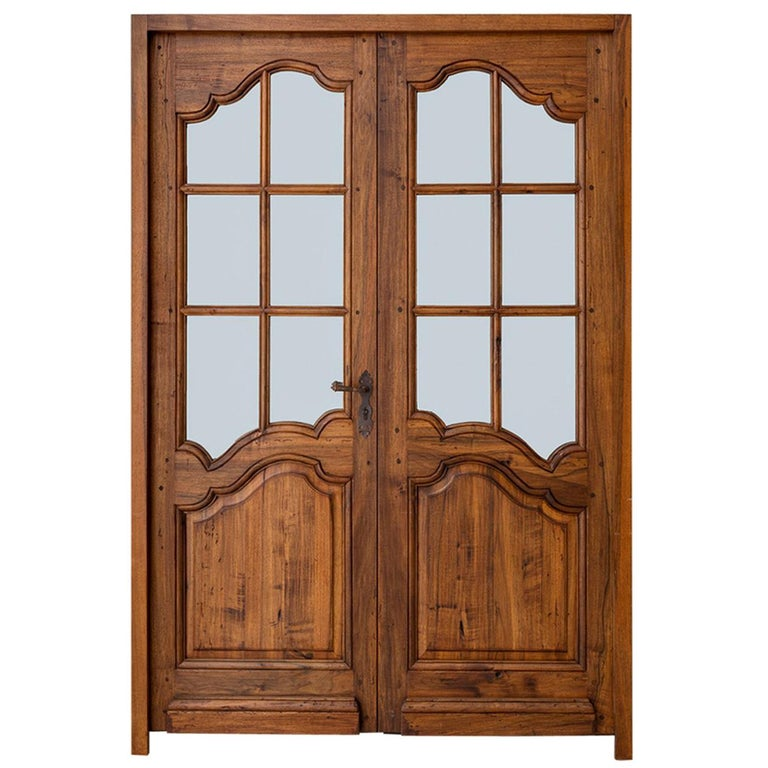 Pair Of French Louis Xv Style Walnut Entry Doors For
