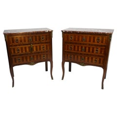 Pair of French Louis XV Style Walnut and Mahogany Parquetry Inlay Side Cabinets