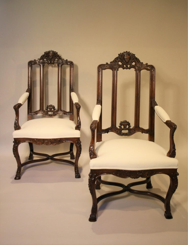 Pair of French Walnut Armchairs, 19th Century For Sale 6