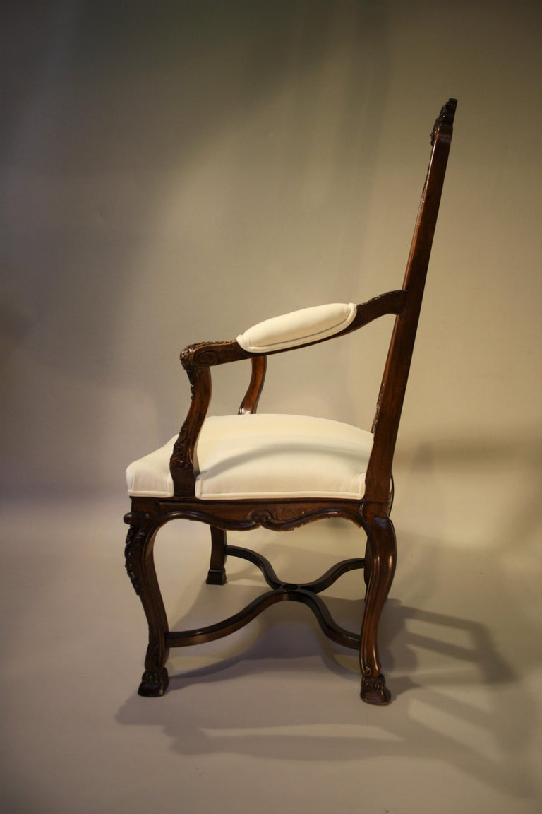 Pair of French Walnut Armchairs, 19th Century For Sale 7
