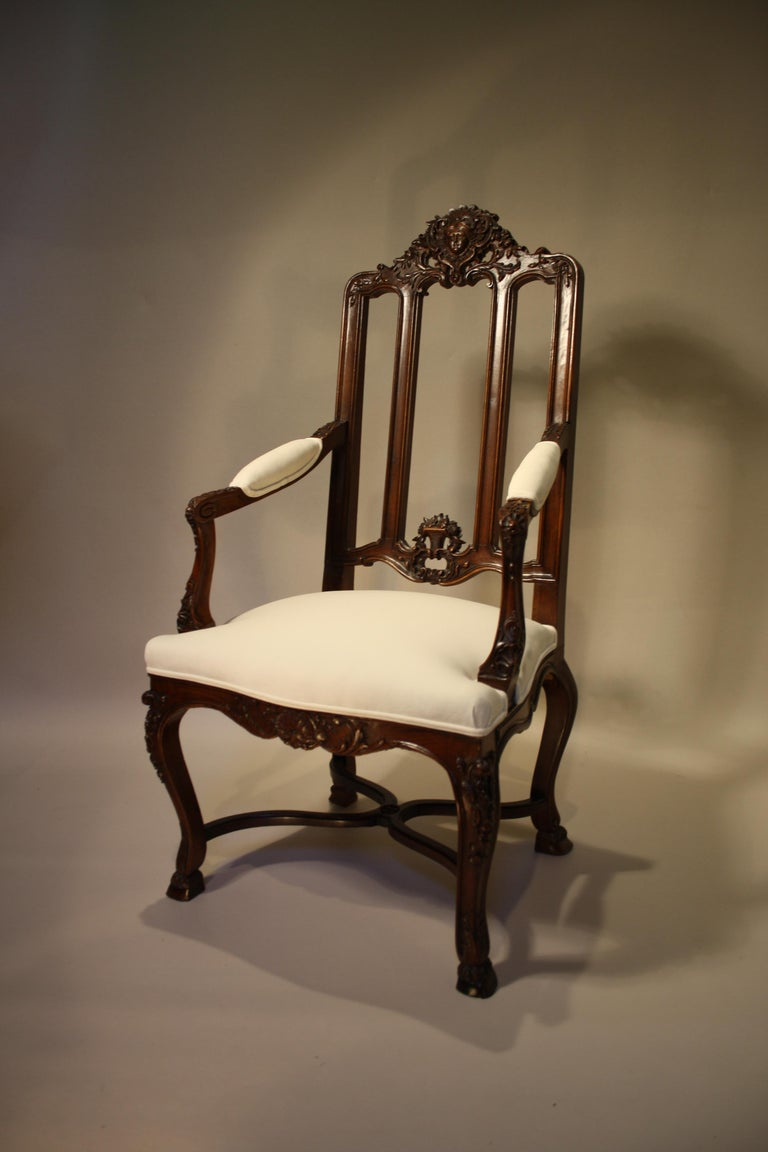 Pair of French Walnut Armchairs, 19th Century For Sale 8