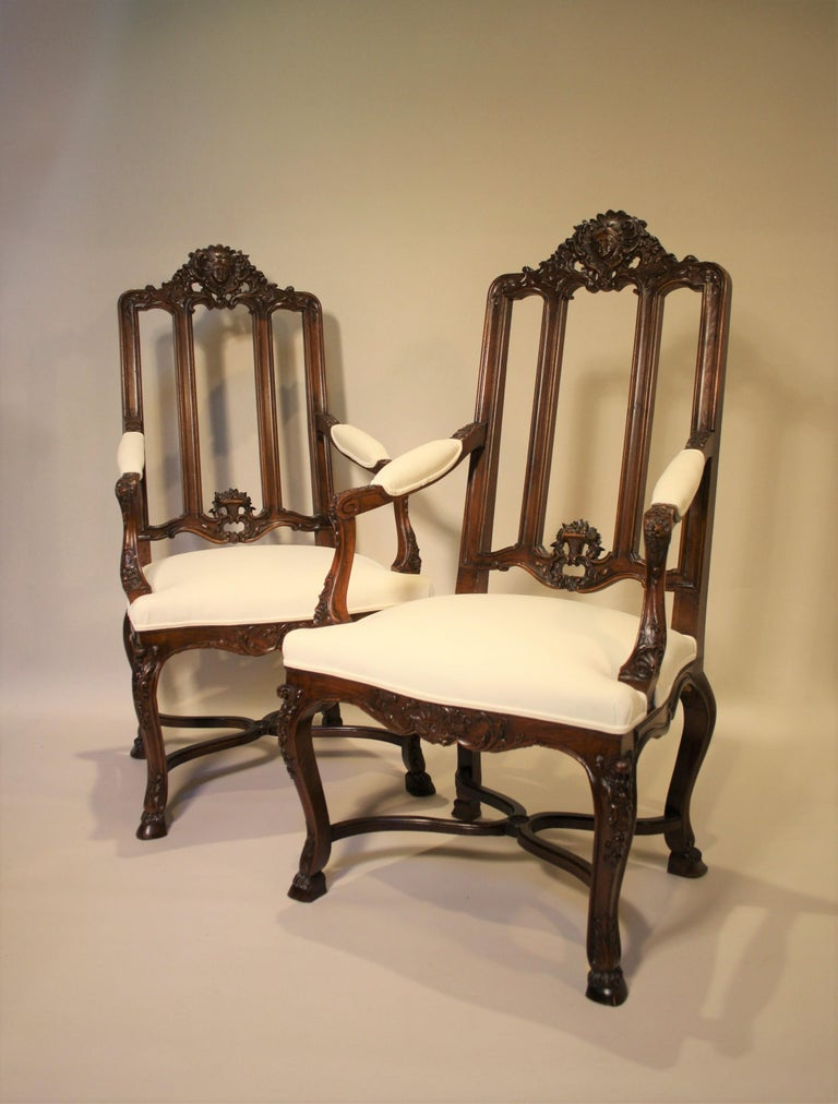 Pair of French Walnut Armchairs, 19th Century For Sale 9