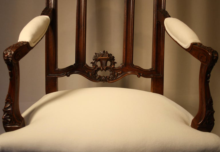 Pair of French Walnut Armchairs, 19th Century For Sale 10