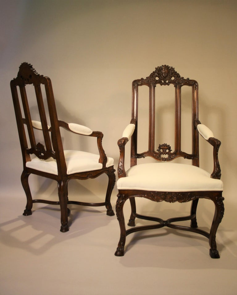 Pair of French Walnut Armchairs, 19th Century For Sale 11