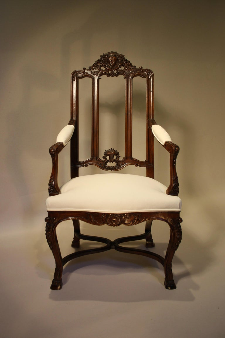 Carved Pair of French Walnut Armchairs, 19th Century For Sale